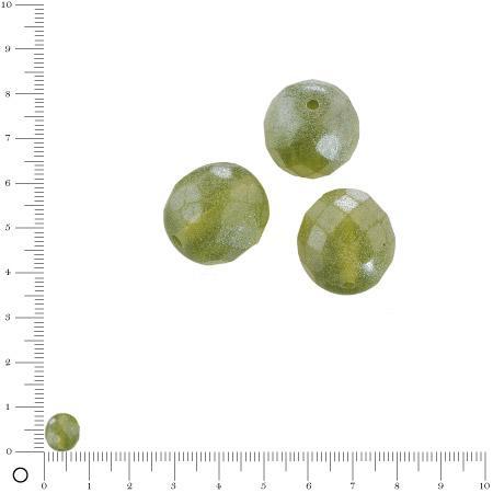 Perles verre antiques à facettes Ø 8 mm - Vert olive x 20 pces