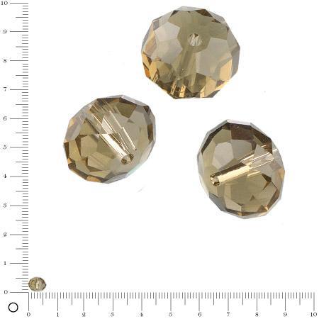 Perles en verre donut à facettes Ø 6 mm - Vert olive x 15 pces