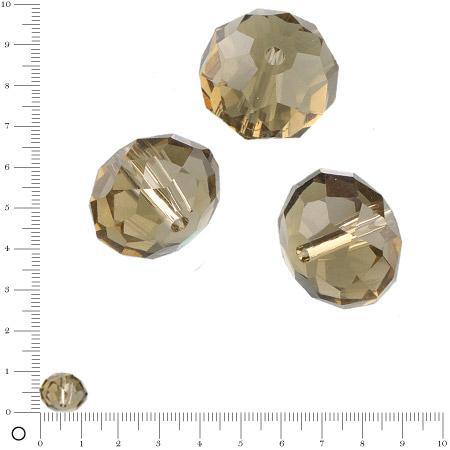 Perles en verre donut à facettes Ø 12 mm - Vert olive x 8 pces