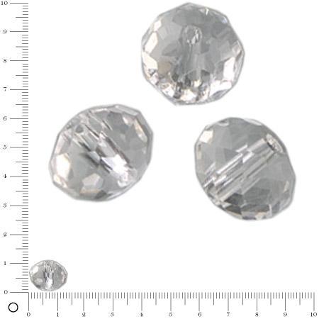 Perles en verre donut à facettes Ø 14 mm - Transparent x 6 pces