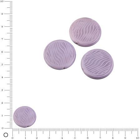Perles rondes plates en verre Silky Ø 18 mm - Mauve mat x 3 pces