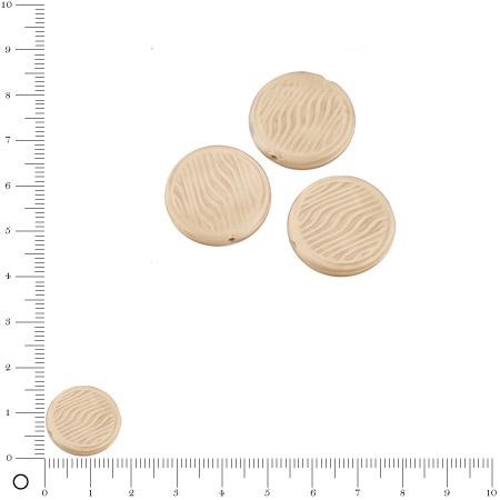 Perles rondes plates en verre Silky Ø 18 mm - Beige mat x 3 pces