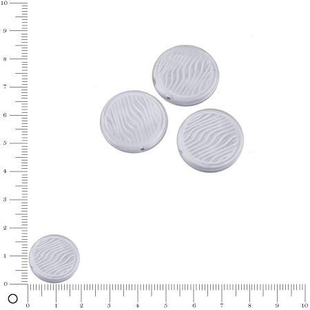 Perles rondes plates en verre Silky Ø 18 mm - Gris clair mat x 3 pces