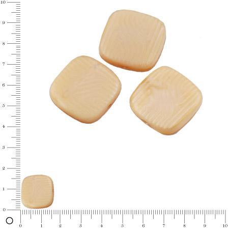 Perles carrées plates en verre Silky 16 x 16 mm - Beige mat x 4 pces