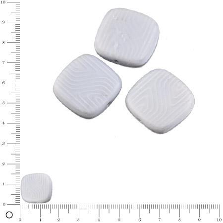 Perles carrées plates en verre Silky 16 x 16 mm - Gris clair mat x 4 pces