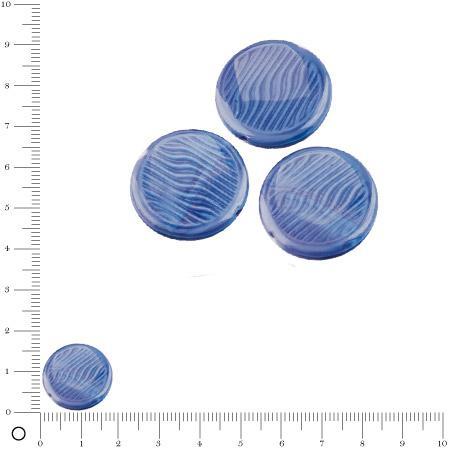 Perles rondes plates en verre Silky Ø 18 mm - Bleu foncé brillant x 3 pces