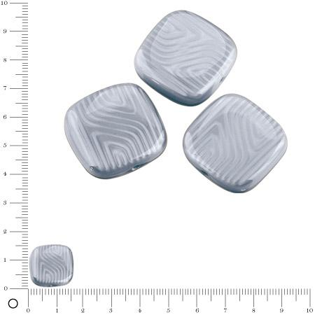 Perles carrées plates en verre Silky 16 x 16 mm - Gris clair brillant x 4 pces