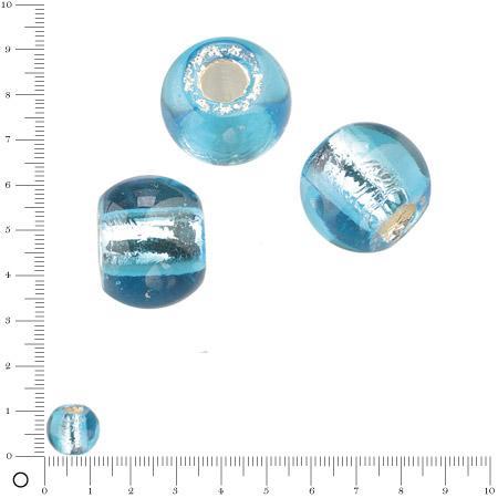 Perle en verre Ø 12 mm - Bleu clair argenté