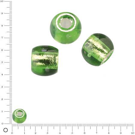 Perle en verre Ø 12 mm - Vert clair argenté