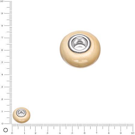 Perle en verre opaque Ø 15 mm - Crème