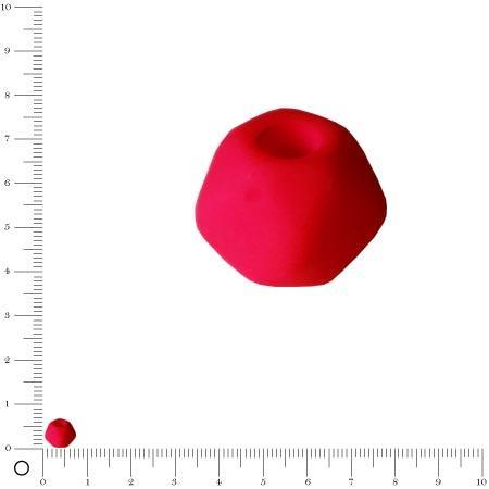 Perle en verre dépoli - Néon - 5 faces Ø 7mm - Rose Fluo