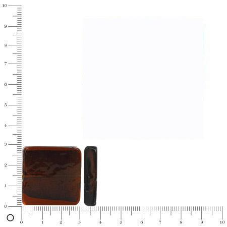 Perle en verre carrée avec feuille d'argent 30 mm - Caramel