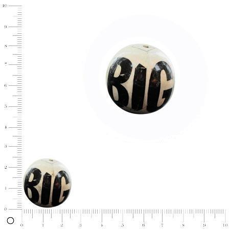 Perle ronde recouverte de papier Ø 25 mm - Lettres (modèle aléatoire)