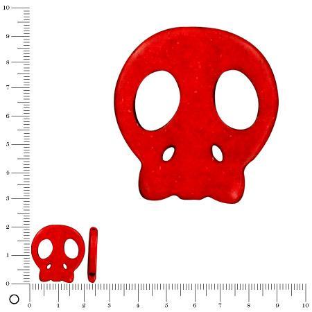 Perle tête de mort Ø 20 mm - Rouge