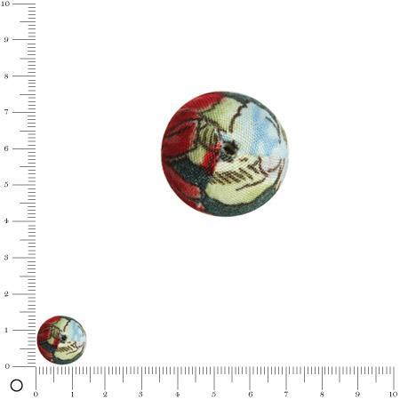 Bolero - Perle en tissu - Rouge feu - Ø 14 mm