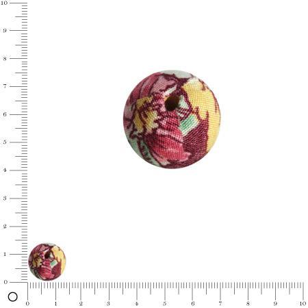Bolero - Perle en tissu - Rouge mûre - Ø 14 mm