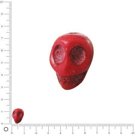 Perle fantaisie tête de mort Ø 13 mm - Rouge