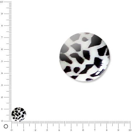 Perle plate Ø 12 mm - Zèbre
