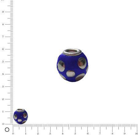 Perle pastilles argentées Ø 11 mm - Bleu marine