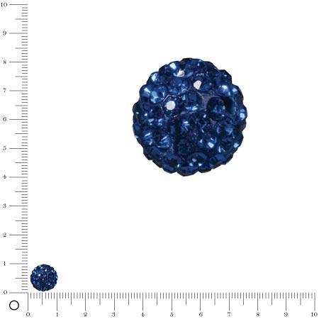 Perle Shamballa - Ø 10 mm - Bleu Roy