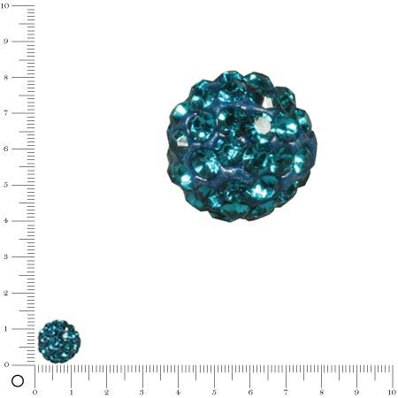 Perle Shamballa - Ø 12 mm - Bleu Canard