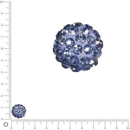 Perle Shamballa - Ø 12 mm - Bleu clair