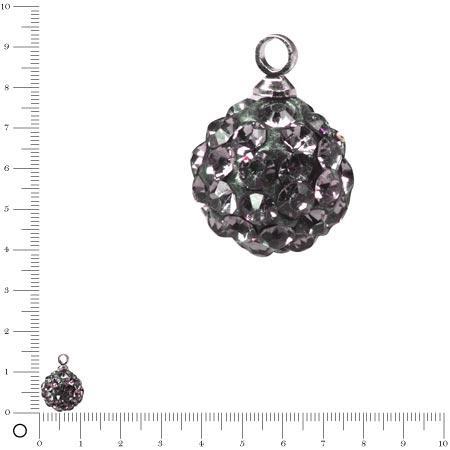 Perle Shamballa - Ronde avec Pendentifs - Ø 10 mm - Gris anthracite