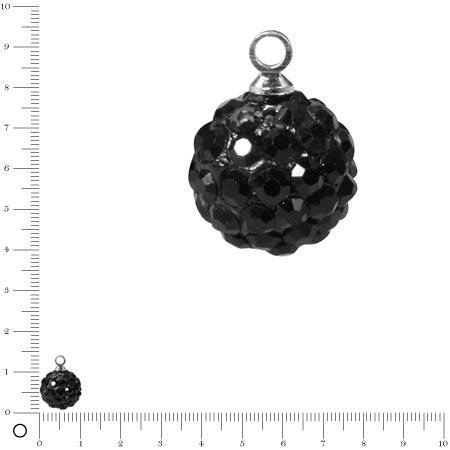 Perle Shamballa - Ronde avec Pendentifs - Ø 10 mm - Noir