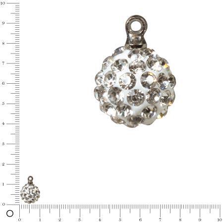 Perle Shamballa - Ronde avec Pendentifs - Ø 10 mm - Cristal