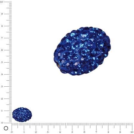 Perle Shamballa -Ovale - 1,6 x 1,1 cm - Bleu Roy