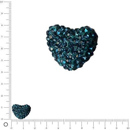 Perle Shamballa - Cœur - 1,6 x 1,2 cm - Bleu Roy
