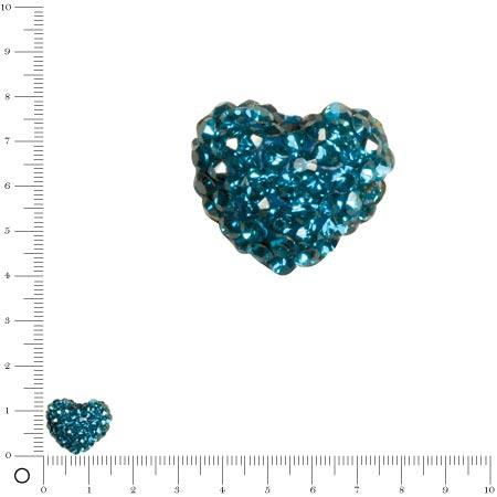 Perle Shamballa - Cœur - 1,6 x 1,2 cm - Bleu pétrole