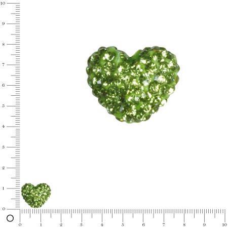 Perle Shamballa - Cœur - 1,6 x 1,2 cm - Vert mai