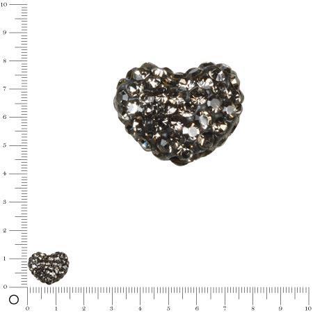 Perle Shamballa - Cœur - 1,6 x 1,2 cm - Gris anthracite