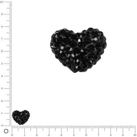 Perle Shamballa - Cœur - 1,6 x 1,2 cm- Noir