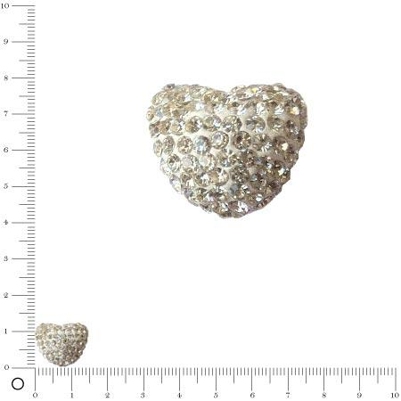 Perle Shamballa - Cœur - 1,6 x 1,2 cm - Cristal