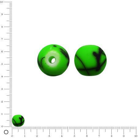 Perle ronde en acrylique peint - Ø 10 mm env. - Vert fluo