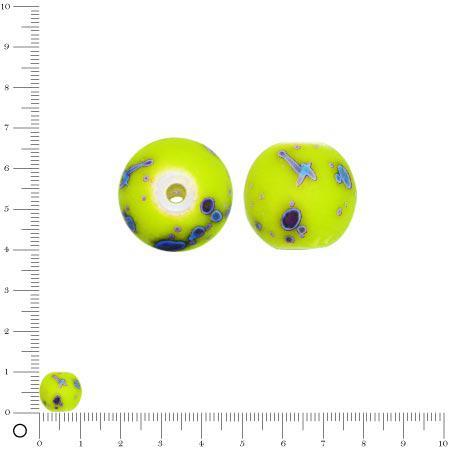 Perle ronde en acrylique peint - Ø 10 mm env. - Jaune fluo Tachetée