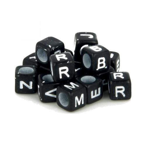 Perles alphabet - Noir et blanc - 6 mm - 300 pcs