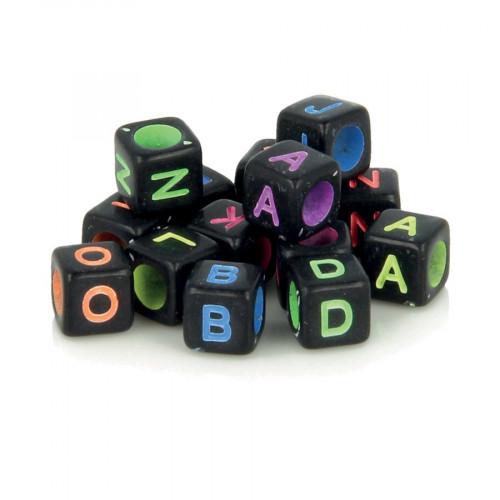 Perles alphabet - Noir et couleurs - 6 mm - 300 pcs
