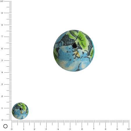 Bolero - Perle en tissu - Vert bleu - Ø 14 mm