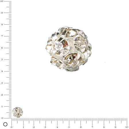 Perle strass Ø 10 mm - Argenté
