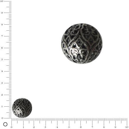 Perle filigranée Ø 18 mm - Argenté vieilli