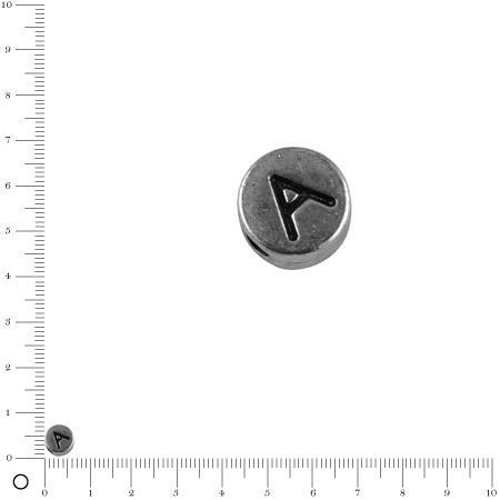 Perle lettre A - Ø 7 mm - argenté vieilli