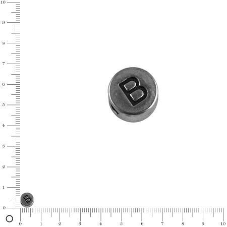 Perle lettre B - Ø 7 mm - argenté vieilli