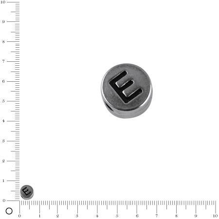 Perle lettre E - Ø 7 mm - argenté vieilli