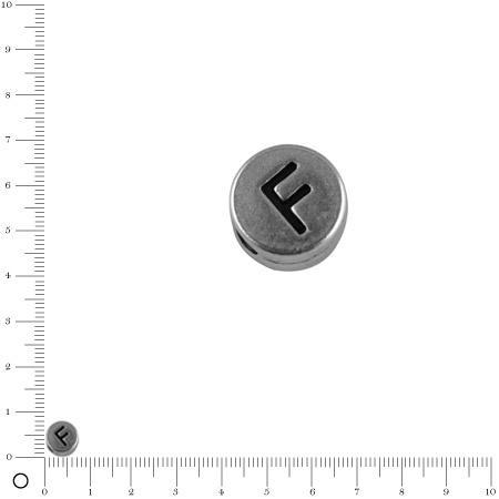 Perle lettre F - Ø 7 mm - argenté vieilli
