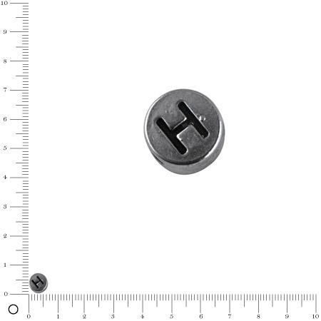 Perle lettre H - Ø 7 mm - argenté vieilli