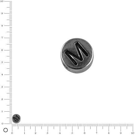 Perle lettre M - Ø 7 mm - argenté vieilli