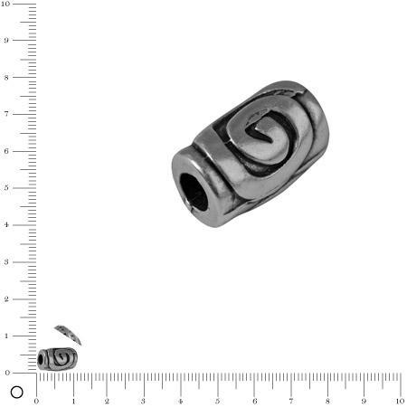 Perle cylindrique L. 11 mm - Argenté vieilli